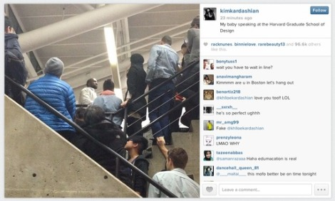 Kim Kardashian's instagram record of Kanye's Harvard GSD appearance