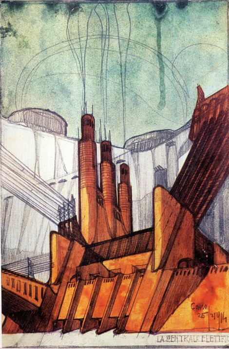 Part of the 1914 series La Città Nuova by Sant'Elia. This is his proposal for a power station.