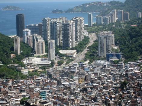 A slum in Brazil. Rocinha favela is next to skyscrapers and wealthier parts of the city, a location that provides jobs and easy commute to those who live in the slums.