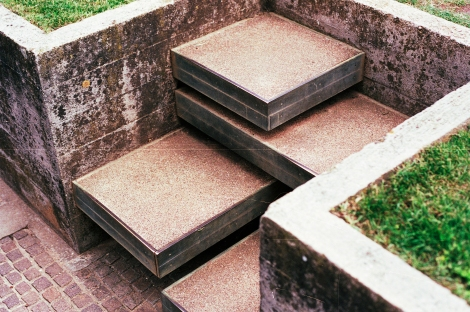 These steps at the Brion Cemetery echo distinct notes with each step.  Designed by Carlo Scarpa. Photo by Addison Godel (Flickr)